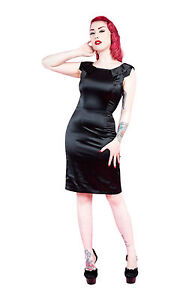 Ladies-40s-50s-Vintage-Style-Black-Satin-Pencil-Collar-Detail-Dress-New-8-18