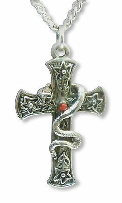 (Medieval Renaissance Cross with Snake & Red Crystal Silver Finish Necklace NK-37)