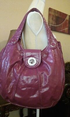 (Marc Jacobs Turnlock Fusia Patent Leather Extra Large Hobo Handbag)