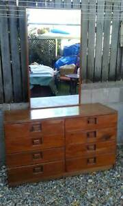 DRESSING TABLE-DRESSER - TIMBER - 8 LARGE DRAWERS and TALL MIRROR
