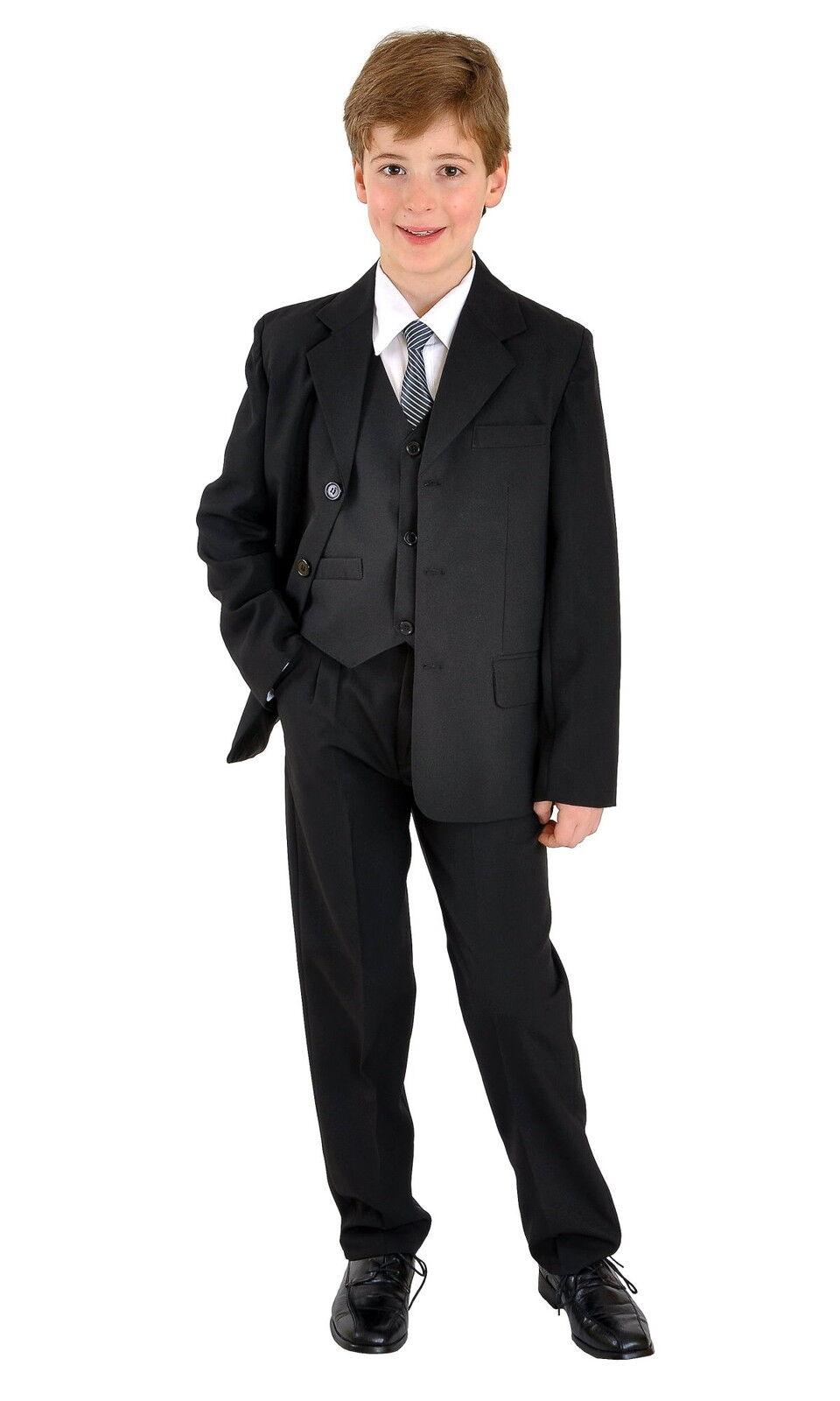 Jungenanzug Kinderanzug Kommunionsanzug Anzug Taufanzug uni schwarz 5 teilig