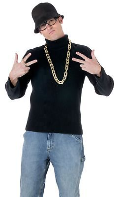Old School Rapper Costume Kit Run DMC Hat Glasses Necklace Ring Hip Hop Rap](Run Dmc Costume)