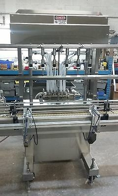 Automatic Inline Liquid Filler 6 Pressure Nozzle And 10 Feet Conveyor 304 Ss