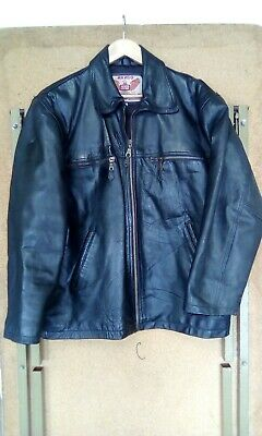 Vintage Mens Heavy Akaso Leather Jacket Size Large Biker Black
