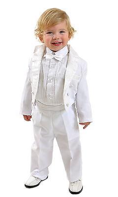 5 Teilig Kinderanzug Taufanzug Jungen Frack Smoking Hochzeit  Gr 98/104 uni weiß ()