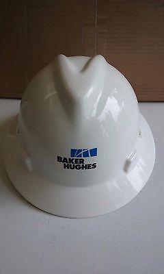 Msa V Gard Full Brim Baker Hughes Hard Hat   Fas Trac Suspension   White