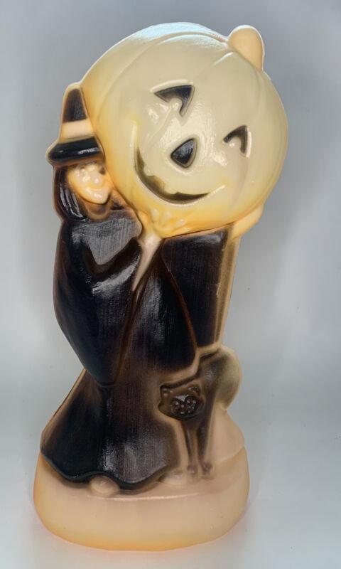 Vintage General Foam Halloween Blow Mold Witch Pumpkin & Black Cat