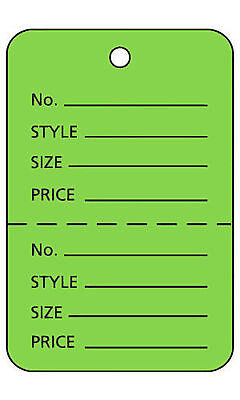 1000 Perforated Tags Price Sale 1 W X 2 H Two Part Green Unstrung Tag