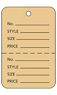 3000 Perforated Tags Price Sale 1 X 2 Two Part Buff Unstrung Tag Large