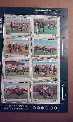 Bahrain Scott  383. Mint,NH.   Sheet of 8,Horse Racing.