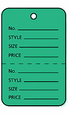1000 Perforated Tags Price Sale 1 W X 2 Two Part Green Coupon Unstrung
