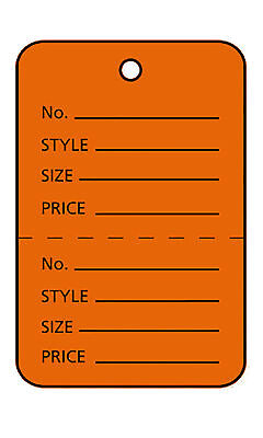 1000 Perforated Tags Price Sale 1 X 1 Two Part Orange Unstrung Tag Small