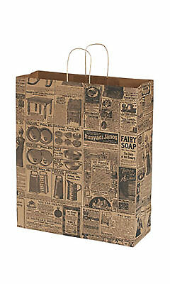 Newsprint Paper Bags 25 News Print Retail Merchandise Shopping 16 X 6 X 19