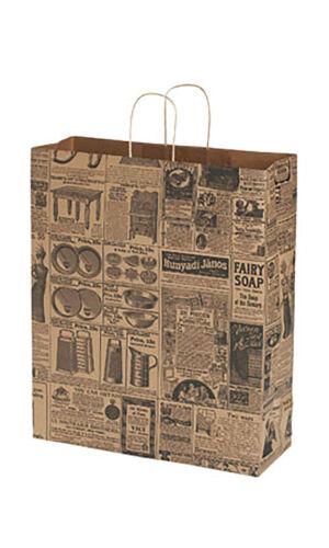 """Newsprint Paper Bags 25 News Print Retail Merchandise Shopping 16"""" x 6"""" x 19"""""""