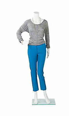 Female Headless White Plastic Mannequin - Bent Arm - Height 54 -with Base