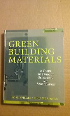 Green Building Materials By Ross Spiegel 1999 Hardcover Very Good Condition