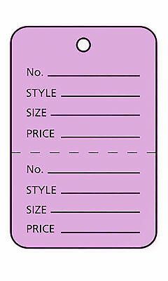 2000 Perforated Tags Price Sale 1 X 1 Two Part Purple Unstrung Tag Small
