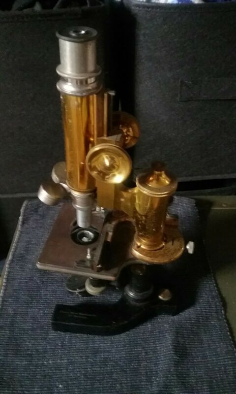 Antique Brass Bausch & Lomb Microscope Eye-catching Historical Piece