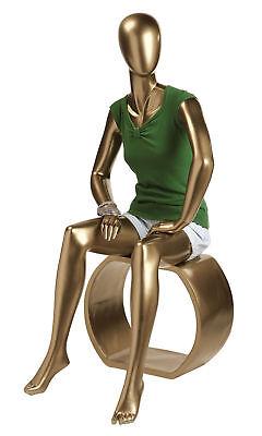 Female Gold Sitting Fiberglass Mannequin Size 2 W Base Bust 32 Waist 25