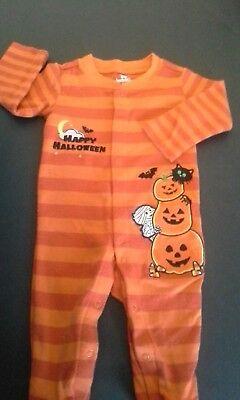 Koala Kids Infant 3M Fall Halloween Footie Sleeper Orange Stripe Pumpkin EUC