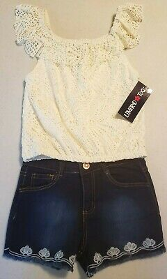 NWT GIRL SIZE 8 LIMITED TOO SHORT SET LINED TOP AND DENIM -