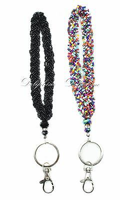 Beaded Keychain (Mini Seed Beaded Crystal Wristlet Key Fob - Black / Rainbow / 2)
