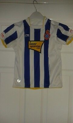 Boys Football Shirt - RCD Espanyol De Barcelona - Li-Ning - Home 2010-2011 Age 4 image