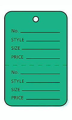 Perforated Tags Price 1000 Sale 1 X 1 Two Part Green Unstrung Tag
