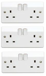 MK K2747 Logic Plus Double Switched Socket 2 gang 13 amp White Pack of 3