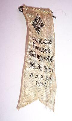 Stoff Abzeichen Anhaltisches Bundessängerfest Köthen 1929 !