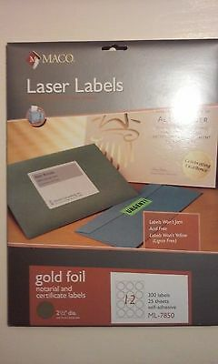 Maco Round Foil Laser Label Ml7850 Gold Foil Notarialcertificate Labels