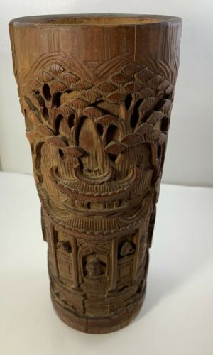 Chinese Antique Wood Carved Landscape Brush Pot Pen Umbrella Holder