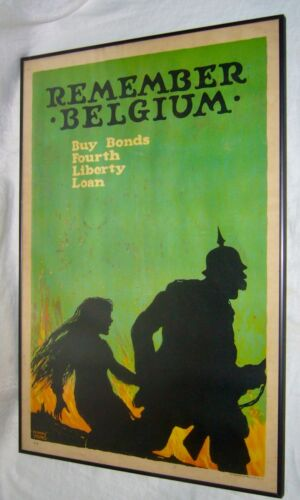 ANTIQUE E. YOUNG 4TH LIBERTY LOAN US GOVERNMENT BONDS BELGIUM LITHOGRAPH POSTER
