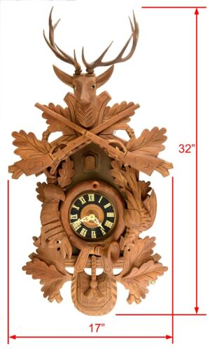 Vintage Black Forest German Cuckoo Clock 8-Day Movement - Carved Style