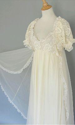 Vintage White Bridal TOSCA Sheer Chiffon Peignoir Robe Nightgown Negligee Gown M
