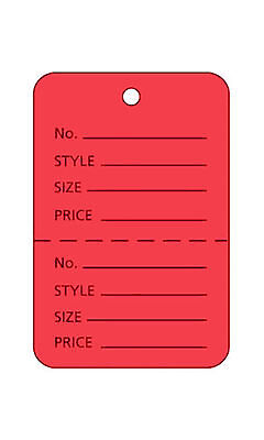 Perforated Tags Price 1000 Sale 1 X 1 Two Part Red Unstrung Tag Small