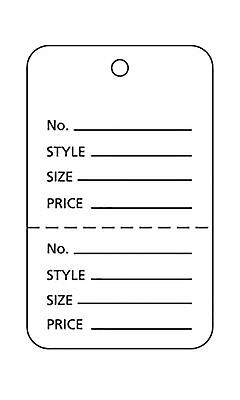 1000 Perforated Tags Price Sale 1 X 1 Two Part White Unstrung Tag Small
