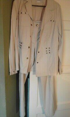 "HEINE womens trouser suit STONE ? sz 12 aprox 30"" high waist & 28"" leg"