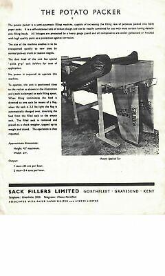 Sack Fillers Ltd Northfleet The Potato Packer Vintage Leaflet Brochure 6387E