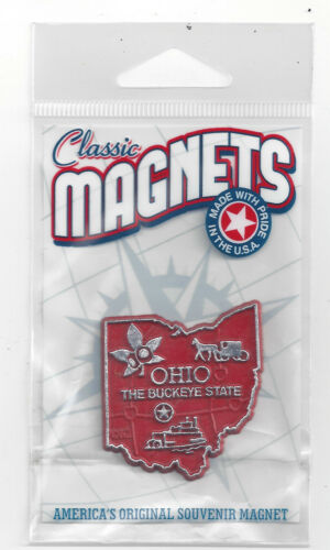 """""""THE BUCKEYE STATE"""" OHIO    OUTLINE MAP MAGNET in Souvenir Bag, NEW"""