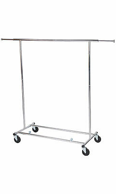 Chrome Single-rail Collapsible Salesman Clothing Rack