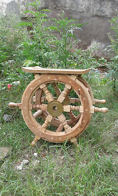 Pirate Ship Table Decoration (Nautical Wheel Table Wooden Furniture Pirate Ship Boat Steering End Table)