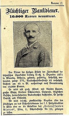 Fahndung nach flüchtigen Bankdiener Ludwig Czech (Böhm.Sparkassen)  * 1910
