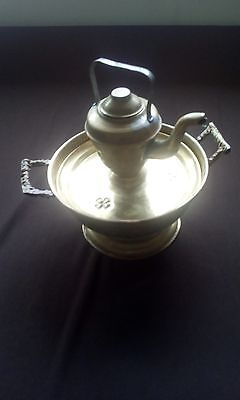 Vintage miniature Moroccan hand washing tea pot and bassin brass for decor