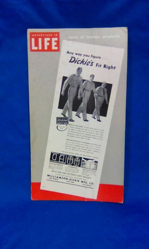 "Advertising - "" Dickies Work Clothing"" Cardboard Counter Sign - Vintage"