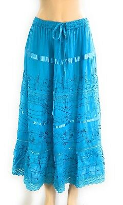 Cotton Women's Boho Lace Trim Embroidered Tiered Peasant Sweep Skirt 1X-2X-3X  ()