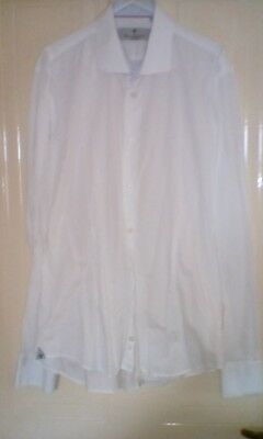 Mens Rosso fiorentino neck 16 inch 44 inch chest white shirt cotton image