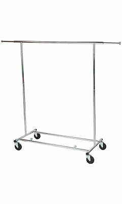 Clothing Rack Rolling Chrome Folding Single Bar Rail Salesman Collapsible