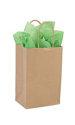 Kraft Paper Shopping 100 Bags Twisted Handles 5 X 3 X 8 Merchandise