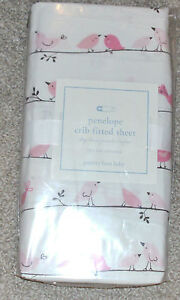 NEW NIP POTTERY BARN KIDS BABY PENELOPE Fitted CRIB Sheet Pink Brown Birdie